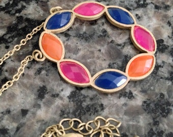 Multi Colored Circular Pendant with Chain
