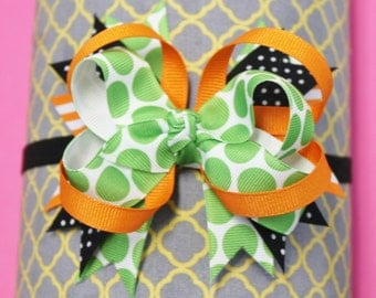 Green, Orange, and Black Halloween Stacked Boutique Hair Bow
