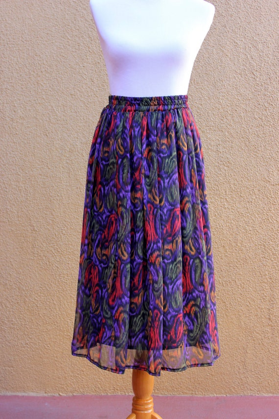 vtg chiffon highwaisted flowy midi skirt fully by