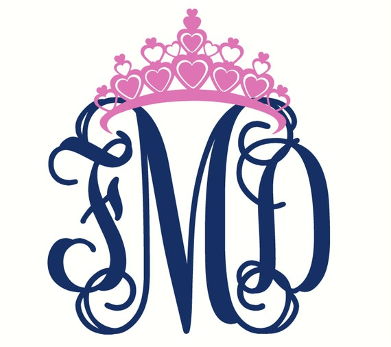 Monogram Car Decal With Crown Car Sticker Laptop Decal Car