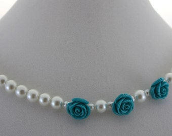 Asymmetrical Pearl Necklace, Turquoise Flower Necklace, Turquoise Rose Necklace, Asymmetrical Flower Necklace, Asymmetrical Rose Necklace