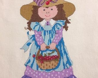Basket Full of Berries Handmade Cross Stitch