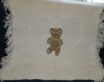 Teddy Bear in a Heart Baby Afghan