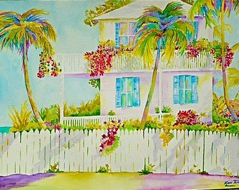Florida Beach House - on watercolor paper