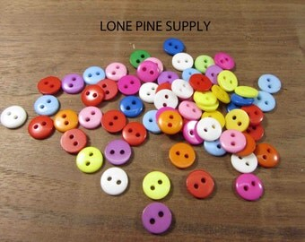 2 Hole Plastic Buttons. 3/8 Inch Multi Colored Buttons. 9mm Button.