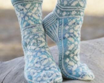 Hand knit socks. Wool socks. Hand knit lace socks. Bed socks. House socks. Girl and woman.