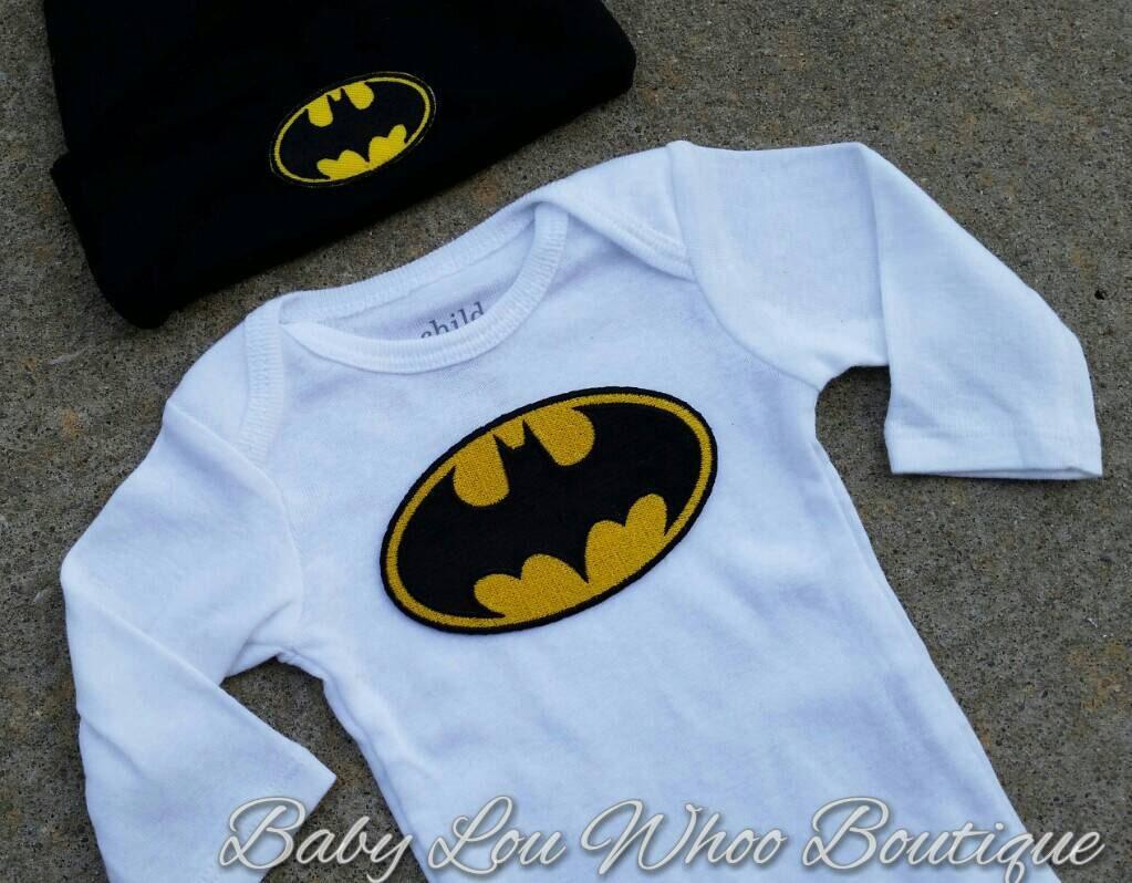 Batman onesie and hat set .. batman onesie .. baby by BabyLouWhoo