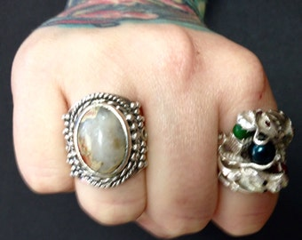 Crazy Agate + Antiqued Sterling Silver .925 Statement Ring Size 9