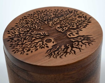 Tree of Life Salt Cellar w/Swivel Cover - Engraved Acacia Wood - For Salt, Herbs or Trinkets!
