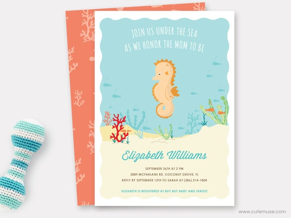 Beach baby shower printable invitation seahorse baby shower il570xn filmwisefo