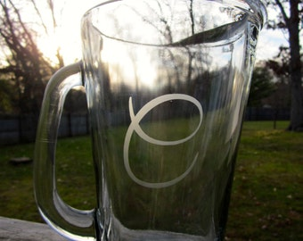 Etched Beer Pitcher- One Initial
