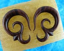 10mm 00 gauge Wood Earrings -  10mm Hanging Sono Wood Plug Earrings -  00g Wooden Plug Hanging Tapers *D020