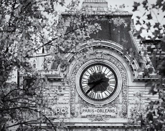Musee d'Orsay, Paris, Clock, Museum, Autumn, Black and White, Roman Numerals, France - Travel Photography, Print, Wall Art