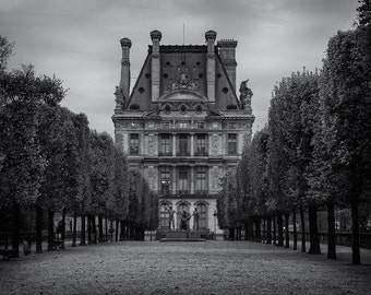 Louvre Palace, Paris, French Architecture, Louvre Museum, Trees, Black and White, Autumn, France - Travel Photography, Print, Wall Art