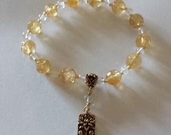 Citrine & Aquamarine Lotus Charm Stackable Bracelet