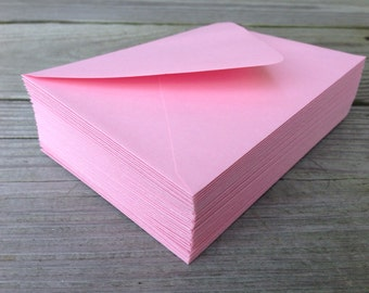 50 Pink Envelopes A7 5x7 Invitation or A1 (4Bar) RSVP Pointed Flap Envelopes - Baby Pink Blossom Paper Source Envelope