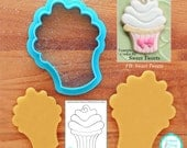 Whimsical Cupcake Cookie Cutter & Fondant Cutter - *Guideline Sketch To Print Below**