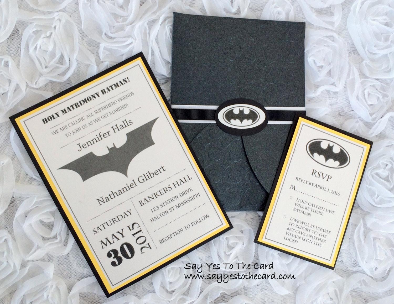 diy batman wedding invitation etsy wedding invitations DIY Batman Wedding Invitation zoom