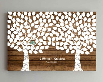 175 Guest Wedding Guest Book Wood Two Double Tree Wedding Guestbook Alternative Guestbook Poster Wedding Guestbook Poster - Wood design
