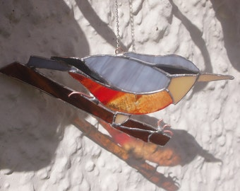 Suncatcher: © Nuthatcher - ornamental glass- from original design, hand cut, foiled and soldered