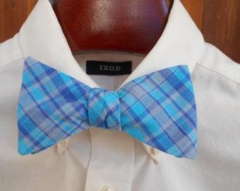 Bow Tie - Blue and Aqua Madras Plaid - Men's self tie
