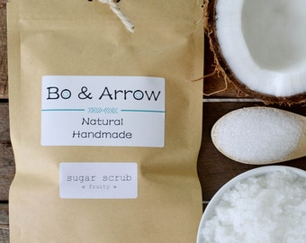 Bo & Arrow Fruity Sugar Scrub Coconut Oil Body Polish Exfoliate Skin Natural Handmade Skin Care Australia