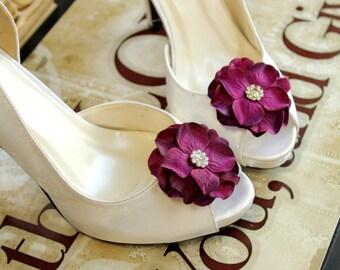 Purple Shoe clips Wedding shoe clips Plum Bridal shoe clips rhinestones Shoe Clips Flower girl Shoe Clips Weddings Bridal Accessories