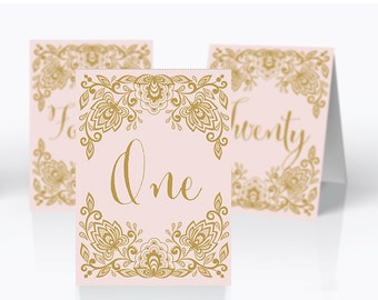 Printable Wedding table numbers | Lace pink and gold