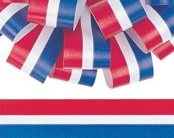 "Berwick 1-7/16"" Patriotic Stripe Flora-satin Ribbon / 50 yards / Red White & Blue Stripes - Fourth of July Ribbon"