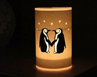 Handmade Papercut Penguin Lantern