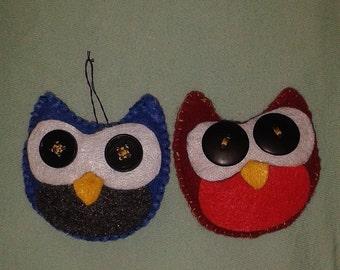 Cute Hand-sewn Felt Owl Ornaments