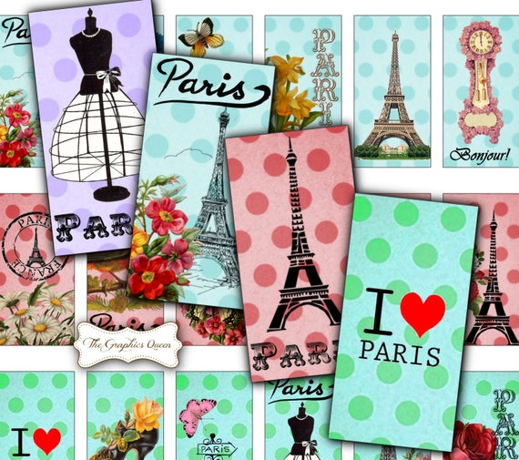 rectangle vintage paris digital collage sheet 1 x 2 domino. Black Bedroom Furniture Sets. Home Design Ideas
