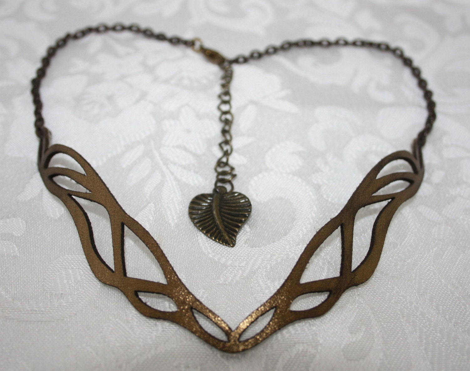 Bronze Laser Cut Leather Art Nouveau Necklace