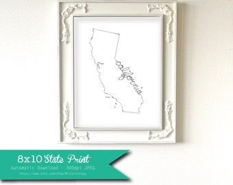 Printable California State Art Print 8x10 Digital Wall Art Gift
