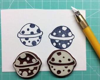 Planet Stamp. Hand carved stamp. rubber stamp. Mounted