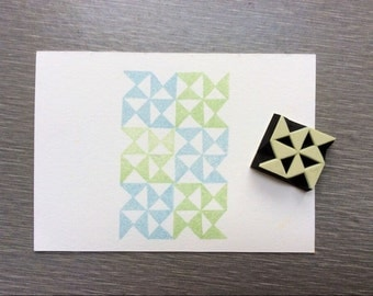 geometrical stamp.composition triangle stamp. rubber stamp. hand carved stamp. mounted