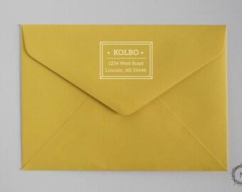 Return Address Stamp - Custom Address Stamp - Rubber Stamp - Modern Address Stamp - Address Stamp with Rectangle Border