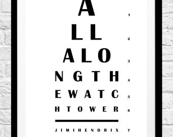 Jimi Hendrix 'All Along The Watchtower' Song Lyrics- Minimalist Poster, Typography Print- Wall Art, Home Decor- Original Gift Idea
