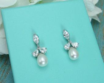 Sparkle cz earrings, freshwater pearl bridal earrings, cubic zirconia earrings, wedding jewelry, wedding earrings,  210698759