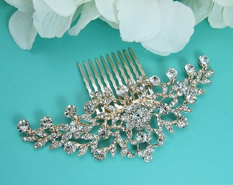 Wedding Comb Rose Gold, rose gold wedding hair comb, floral rhinestone hair comb hair comb wedding headpieces, rose gold comb 212017827