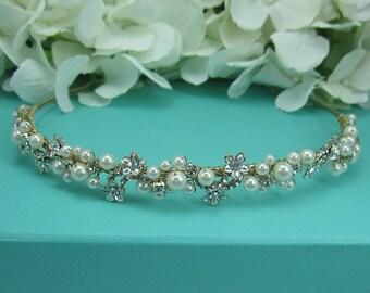 Gold Wedding Headband, Gold Bridal tiara headpiece, wedding headpiece, pearl headband, gold wedding headband, Gold Tiara 214944641