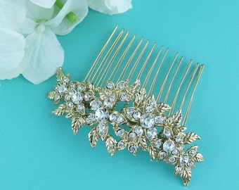 Gold Bridal Comb, Rhinestone Comb, Bridal Comb Crystal, Gold Wedding Crystal Hair Comb, Hair Comb, Bridal Headpiece, Bridal Comb 224468794