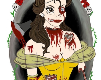 Zombie belle art print/ horror art prints/