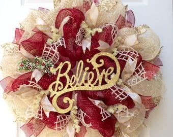 Believe Inspirational Holiday Wreath Handmade Deco Mesh