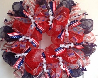 Red White and Blue Patriotic Ribbon Wreath 20 inches