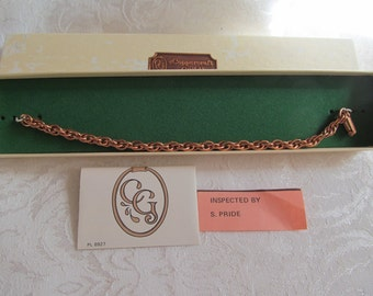 FREE SHIPPING --Vintage Coppercraft Guild Solid  Copper chainlink  bracelet  7 1/2''