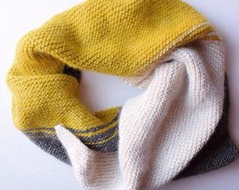 Gray, mustard and ivory colorblock alpaca scarf