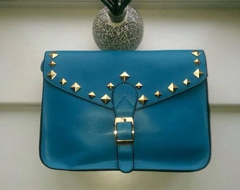 Customised Blue and  studded Satchel bag