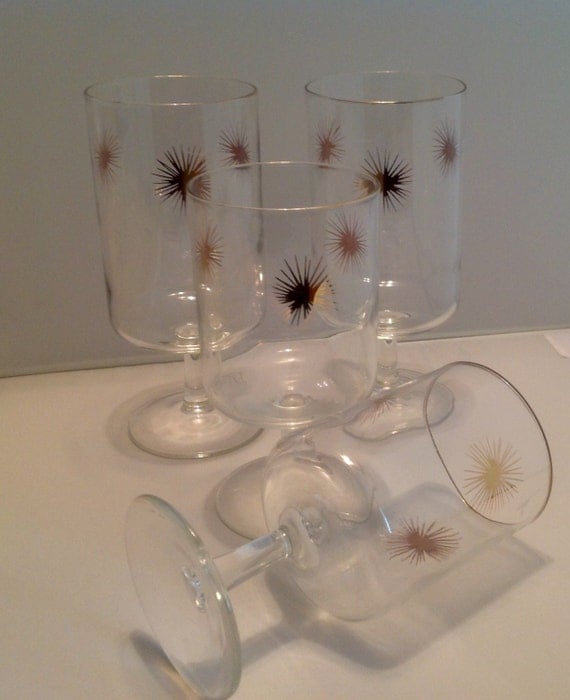 Gold starburst stemmed glassware atomic glasses - Starburst glassware ...