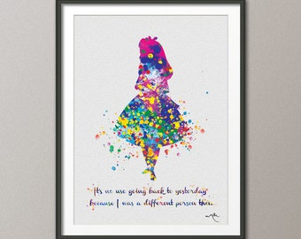 Alice in Wonderland inspired Quote Watercolor Print Archival Fine Art Print  Nursery Wall Art Wall Decor Art Home Decor Wall Hanging [NO 1]
